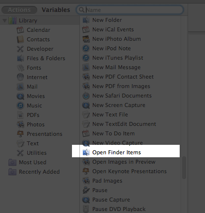 Open Finder Items